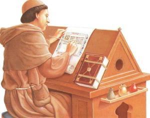 Աստվածաշնչի ձեռագիր արտագրող և այն խնամքով զարդարող վանական
